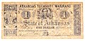 American civil war treasury warrant reproduction one dollar arkansas obverse.jpg