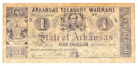 Reproduction 1862 Arkansas $1 treasury warrant. Confederate currency became worthless following the war, costing many hundreds American civil war treasury warrant reproduction one dollar arkansas obverse.jpg