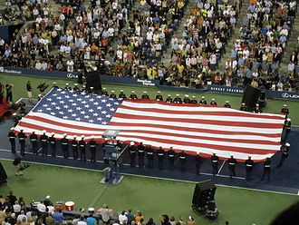 2008 US Open (tennis) - The American flag being unfurled at the opening ceremony