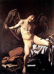 Amor Vincit Omnia. 1602 - 1603. Oil on canvas. 156 x 113 cm. Gemäldegalerie, Berlin. Caravaggio shows Cupid prevailing over all human endeavors: war, music, science, government.