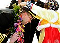An officer is welcomed to Busan, Republic of Korea. (8434693575).jpg