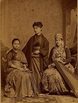 Kalyan - Anandibai Joshi graduated from Woman's Medical College of Pennsylvania (WMC) in 1886. Seen here with Kei Okami (center) and Tabat Islambooly (right). All three completed their medical studies, and each was the first woman from their respective countries to obtain a degree in Western medicine.