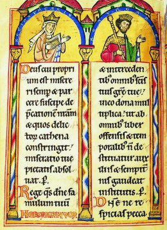 Andrew II of Hungary - Gertrude of Merania and Andrew depicted in the 13th-century Landgrafenpsalter from the Landgraviate of Thuringia