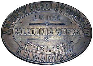 Andrew Barclay Sons & Co. - A brass makers plate from an 0-4-0 Andrew Barclay locomotive of 1925 which worked at a Mauchline colliery in Scotland