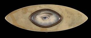 Eye Miniature on an Elliptical Ivory Box