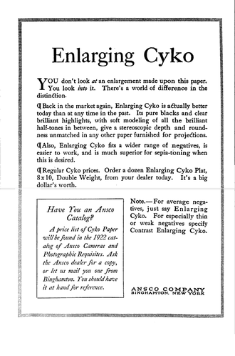 Photographic paper - Advertisement for Ansco Cyko photographic paper, 1922.