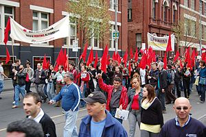 Socialist Alternative (Australia) - Socialist Alternative's red bloc contingent at an anti-WorkChoices demonstration in Melbourne, shortly before the federal election in 2007