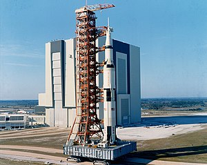 Mobile Launcher Platform 1 - A Saturn V with Apollo 10 rolls out to LC-39B on ML-3
