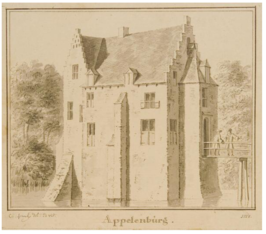 Appelenburg in 1728 door Cornelis Pronk