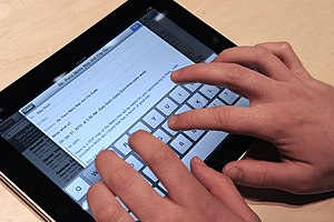 iPad with on display keyboard