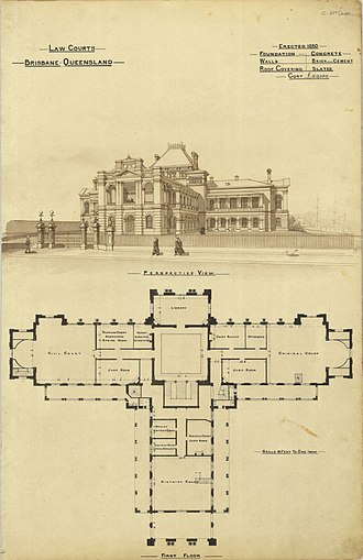 Supreme Court of Queensland - Architectural plans for the first Law Courts, constructed 1880