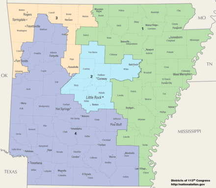 Map of Arkansas showing all four congressional districts Arkansas Congressional Districts, 113th Congress.tif