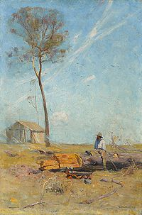 Arthur Streeton - The Selector's Hut (Whelan on the Log), 1890.jpg