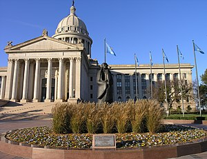 53rd Oklahoma Legislature - As Long as the Waters Flow statue in front of Oklahoma State Capitol.