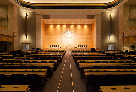 The World Health Assembly meets in the assembly hall of the Palace of Nations, in Geneva (Switzerland). Assembly Hall View.jpg