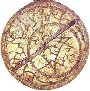 Astrolabe - A 16th-century astrolabe showing a tulip rete and rule.