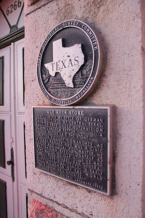 Oak Hill, Austin, Texas - Historical marker at the local Austin Pizza Garden, formerly the Old Rock Store