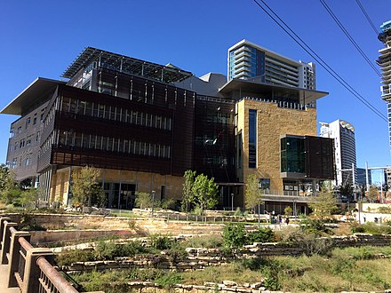 View of Austin Central Library from Cesar Chavez Blvd Austin public library opened October 28 2017.jpg