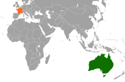 Map indicating locations of Australia and France
