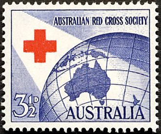 Australian Red Cross - The Australian postage stamp (1954) commemorated for Australian Red Cross Society