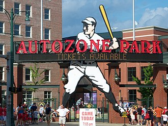 Sports in Memphis, Tennessee - The entrance to AutoZone Park