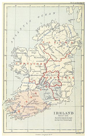 Desmond Rebellions - Map of Ireland c. 1570. The Desmonds ruled the southwest corner of the island.