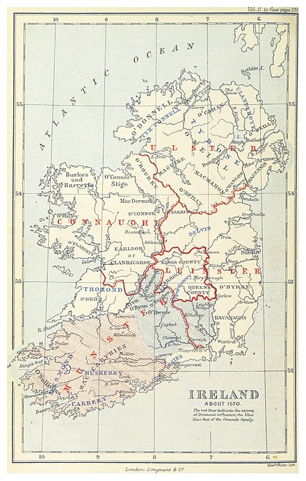 Map of Ireland c. 1570. The Desmonds ruled the southwest corner of the island. BAGWELL(1885) p 2.168 Ireland about 1570.jpg