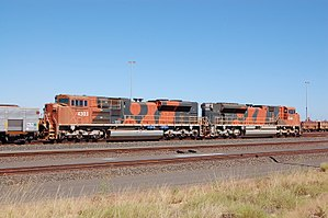 "BHP - Diesel locomotives in BHP Billiton Iron Ore ""bubble"" livery, at the company's Nelson Point Yard, Port Hedland, Western Australia."