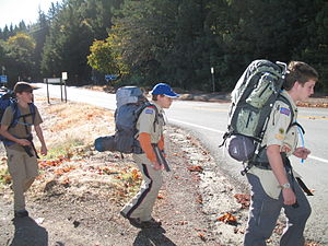 My son at the beginning of a backpacking trip ...