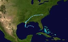 A map of a path through the Gulf of Mexico and the southeastern United States. Most of Mexico can be seen on the bottom left side and the Greater Antilles are present at the bottom right. Additionally, most of New England is visible at the top of the map.