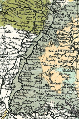 Grand Duchy of Baden - The Grand Duchy of Baden on a section of the Travel Map of Germany from 1861.