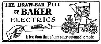 Baker Motor Vehicle - A 1906 Baker Electrics Advertisement - The Draw-Bar Pull of Baker Electrics - The Washington Post, June 17, 1906
