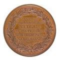 Baksida av medalj med bild av lagerkrans samt text - Skoklosters slott - 99316.tif