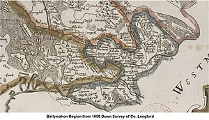 Ballymahon - Ballymahon Region Within County Longford - Down Survey 1656