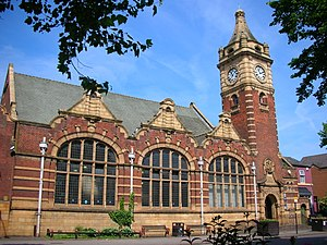 Public Library and Baths, Balsall Heath - The public library with its clock tower