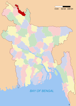 Location of Lalmonirhat in Bangladesh