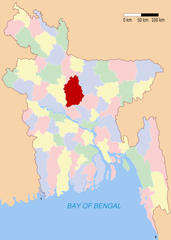 Location of Tangail in Bangladesh
