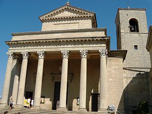 Religion in San Marino - Basilica di San Marino, the main church of the capital city of San Marino.
