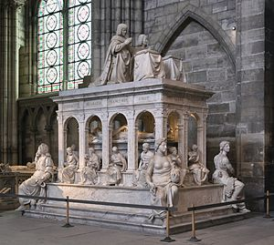 Juste family - The tomb of Louis XII of France and Anne of Brittany at the Basilique Saint-Denis, mostly by Jean Juste and his nephew Juste de Juste, who was responsible especially for the Virtues at the corners. Completed 1531.