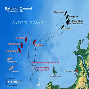 Battle of Coronel - Image: Battle of Coronel map (relief)