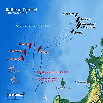 Battle of Coronel - Image: Battle of Coronel map (relief)