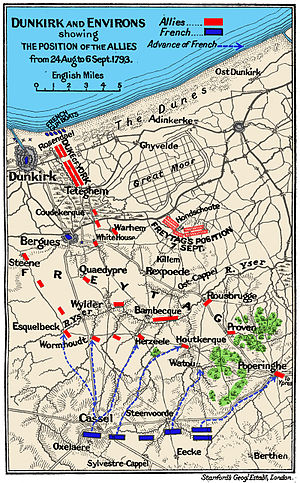 Battle of Hondschoote - Positions on 7 September during the Siege of Dunkirk and the Battle of Hondschoote