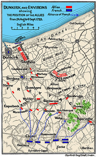 Siege of Dunkirk (1793) - Map of the Siege of Dunkirk and the Battle of Hondschoote