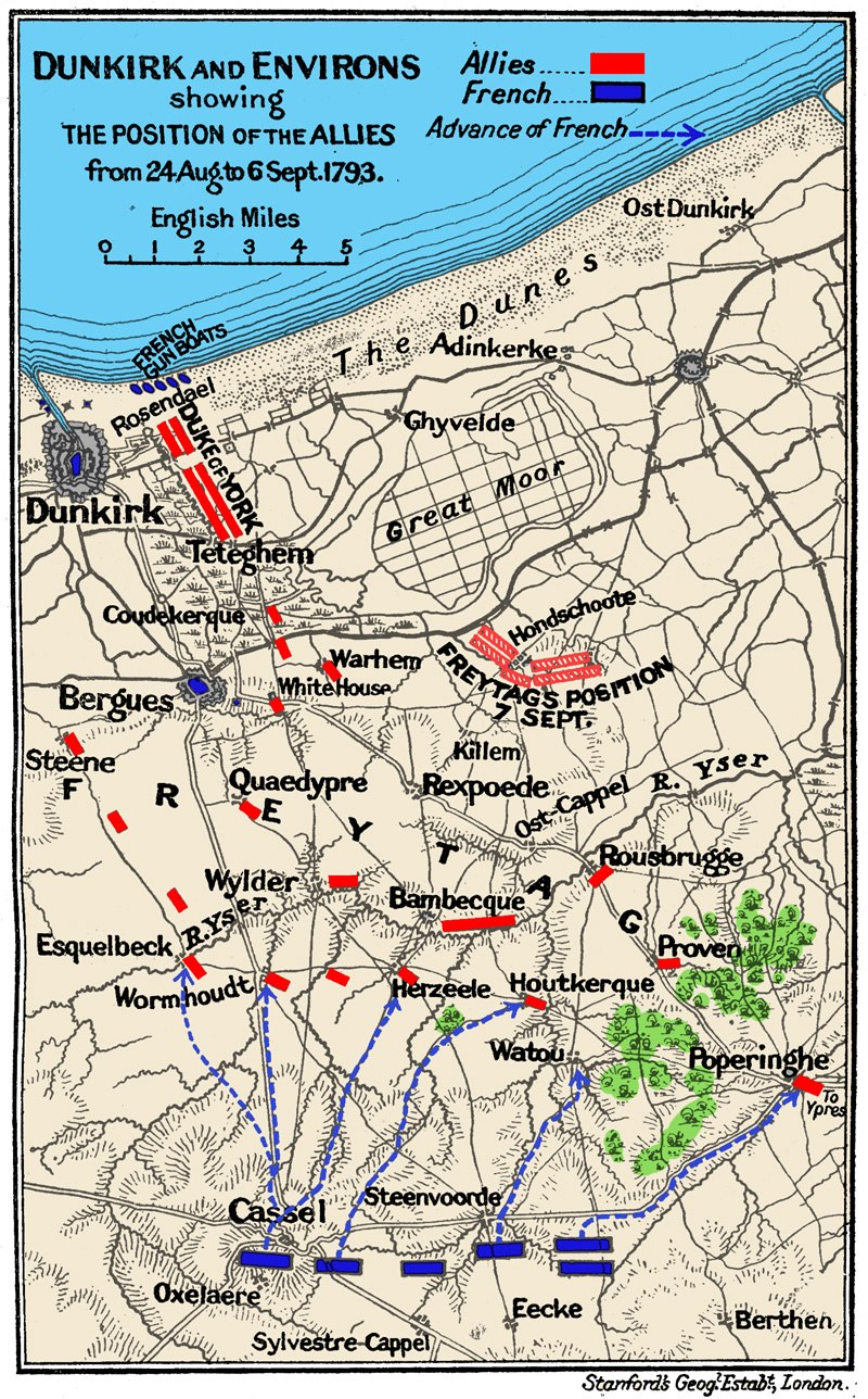 Battle of Hondschoote map