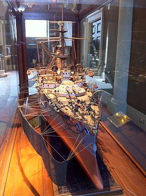 Fuji-class battleship - Model of Yashima with her torpedo nets deployed, National Maritime Museum, London