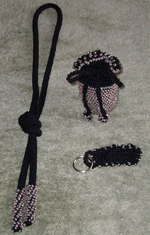 Bead crochet - Convertible necklace/belt, drawstring change purse, and keychain.