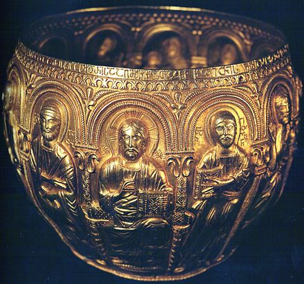 The Bedia Chalice donated by Bagrat to the Bedia Monastery is an important piece of Georgian metal art. c. 999 AD Bediacup.jpg