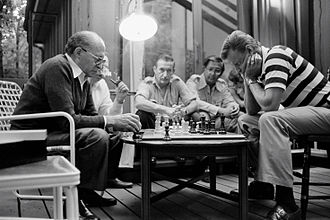 Camp David Accords - Begin and Brzezinski playing chess at Camp David