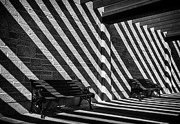 Benches at Oakes Garden Theatre, Niagara Falls, Canada.jpg