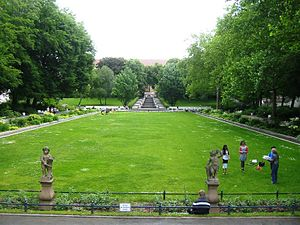 Körnerpark - View from the orangery onto the park with cascade in the back, 2012